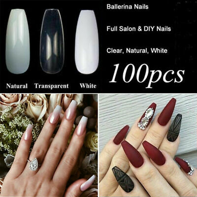 100Pcs Long Women Lady Coffin Shape Full Cover False Fake Nails Art Tip DIY
