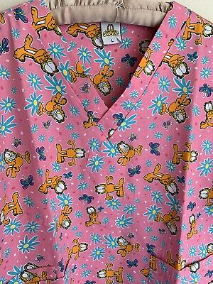 3c11fcfed91 NWT L Garfield Cat Pink Scrub Top Spring Floral Butterfly Large Cartoon  Comic