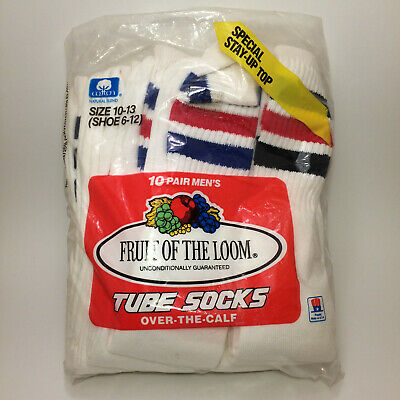 Vintage Fruit Of The Loom Striped Socks 10 Pack New Old Stock