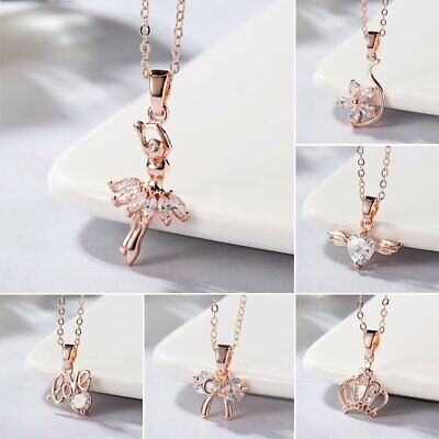 Fashion Women Love Dance Girl Flower Crystal Pendant Necklace Jewelry Wedding