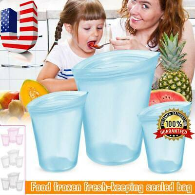 3Pcs Reusable Silicone Food Storage Bags Zip Leakproof Containers Stand Up Bag#