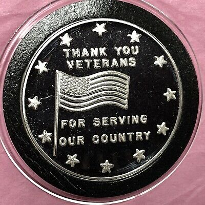 Thank You Veterans World War 2 Coin Round Collectible 1 Troy Oz .999 Fine Silver