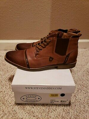 daa242bb3f0 STEVE MADDEN PROXY Mens Brown Leather Casual Dress Lace Up Chukkas Shoes  10.5