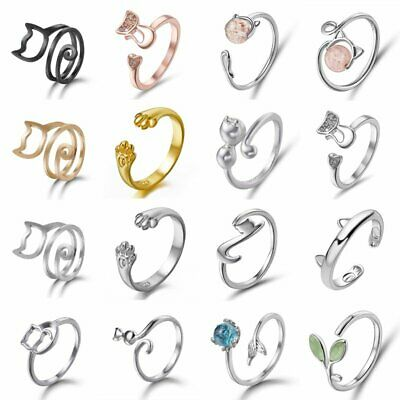 925 Silver Crystal Pearl Cat Adjustable Finger Ring Toe Knuckle Finger Jewelry