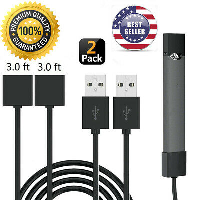 (2 PACK) 4Juul 3 ft Black Skin USB Charger Cable Free and FAST USA Shipping!