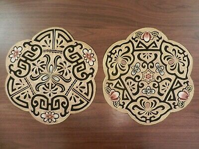 Large Pair of Chinese Silk Embroidered Gold Thread Textile Panels.