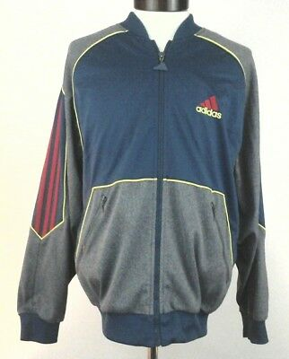 c621a7d5dc6f ADIDAS Track Jacket VINTAGE Blue Gray Red Stripe Embroidered Zip RARE Men's  S