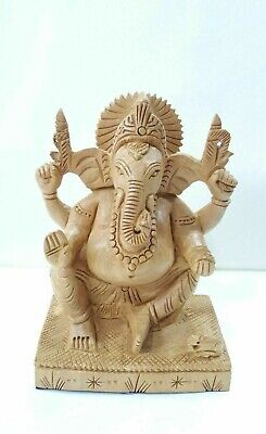 4 inch Wooden Ganesh Statue Hand Carved Hindu Elephant God Ganesha Lord Idol