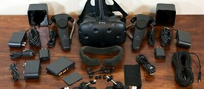 HTC VIVE VR headset with Deluxe Audio Strap and accessories