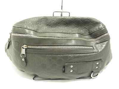 39a43be8087 Auth GUCCI Guccissima 246409 Gray Leather Rubber Coating Bum Bag