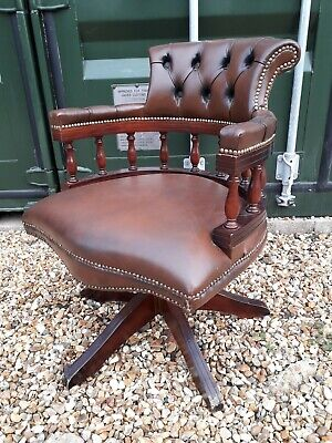 Chesterfield Captain Leather Antique Style Swivel Tilt Office Chair