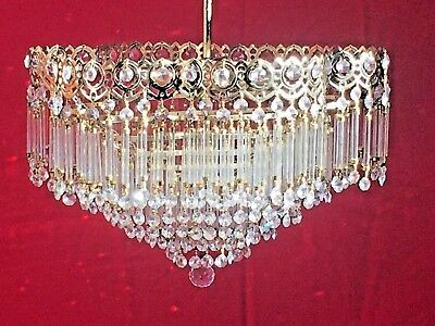 Antique Crystal Solid Brass Chandelier, 41cm, French/Spanish/Rare Style (139)