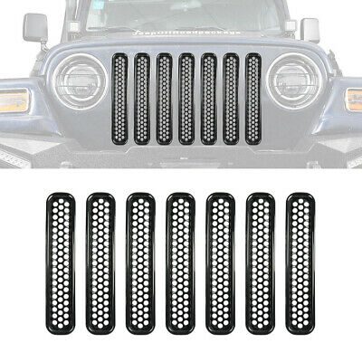 7Pcs Matte Black Mesh Grill Inserts Grille Guard for 1997-2006 Wrangler TJ