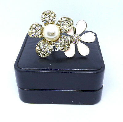Beautiful Vintage Jewellery - Unique Hand-Decorated Large RING, Floral Shape