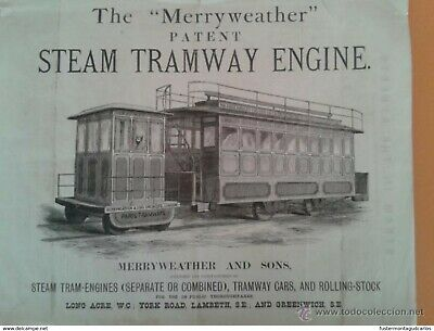 Catálogo de Tranvía, 1878. Merryweather amb Sons. Merryweather Steam Tramway Eng
