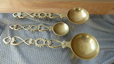 Vintage French Brass Measuring Spoons, Decorative Wall Hanging Spoons, Filigree