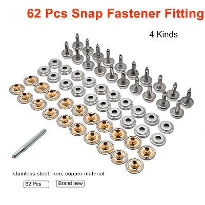 15mm Screw Press Stud Tools Snap Fastener Kit Stainless Steel Boat Cover Fitting