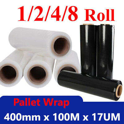 [ Black-Clear ] Pallet Shrink wrap Rolls Strong Stretch Poly Plastic Film