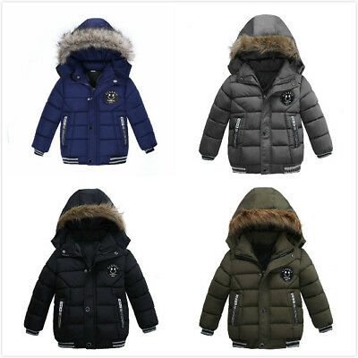 """Boys Kids Winter Warm Padded Parka Jacket Faux Fur """"Hooded Quilted Jacket Coat*."""