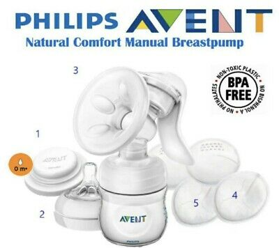 New Philips Avent ISIS Manual Breast Pump Set Bottle Pads Feeding Easy Gentle