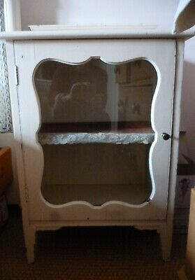 Victorian Mahogany Small Haberdashers Glass fronted Cabinet painted