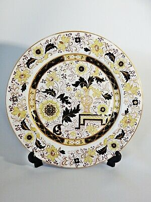 Antique Victorian Ashworth Ironstone Pottery China Display Plate Gold Black