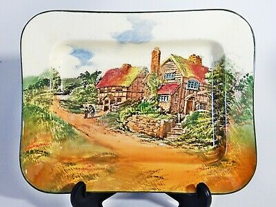 Antique Art Deco Royal Doulton Countryside Rectangular Serving Plate Dish D3647