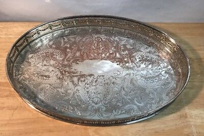 Beautiful Sheffield Silverplated On Copper Chased Galleried Tray