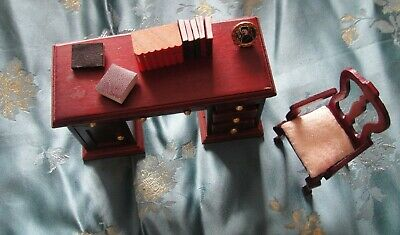 12th Scale Mahogany Antique Style Desk and Chair with Accessories. Books etc