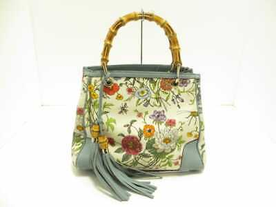 eee3c3fb461 Auth GUCCI Bamboo Shopper Leather Tote Flora 336032 Ivory Light Blue Multi
