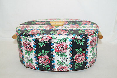 50-60er Nähkästchen Korb Sewing Box Table Blumen Floral Rosen