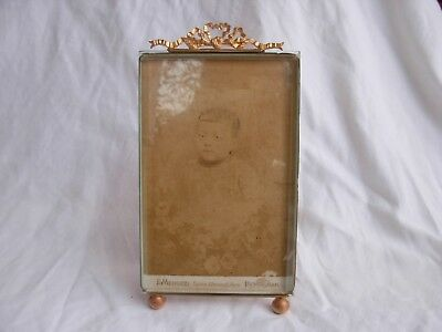 Antique French Bronze Brass Beveled Glass Photo Frame,Louis Xvi Style.