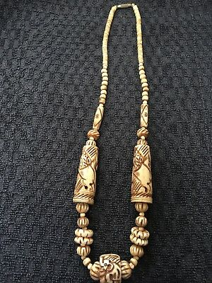 Vintage Handcarved Necklace ? Bone