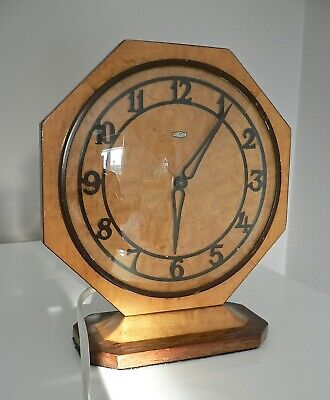 "Art Deco "" Metamec "" mantle clock, two tone wood, new rewire"