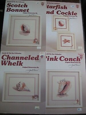4 different charts Jewels of sea shells starfish Needlework Cross Stitch Pattern