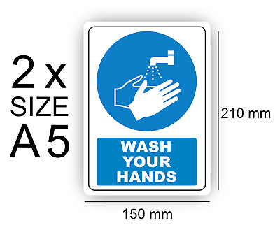 A5 Wash your hands of 2 Self Adhesive Vinyl,Sign,Waterproof