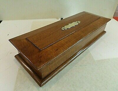 Edwardian Solid Tiger Oak Glove Box With Orig.lining & Brass Mounted Cartouche