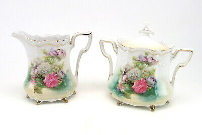 Antique RS Prussia Hand Painted Sugar Creamer Pink Rose