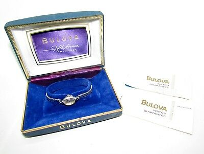 Vintage Bulova Ladies Womens Wristwatch with Original Case and Papers
