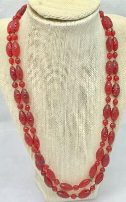 Antique Vintage Ruby Red Etched Glass Bead Single Strand Necklace