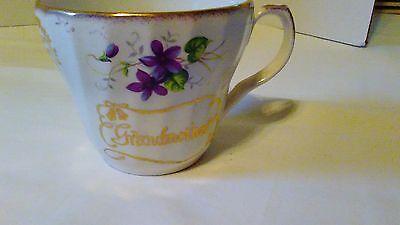 Vintage Fine Bone China Teacup Grandmother Purple Flowers Cup Only No Saucer