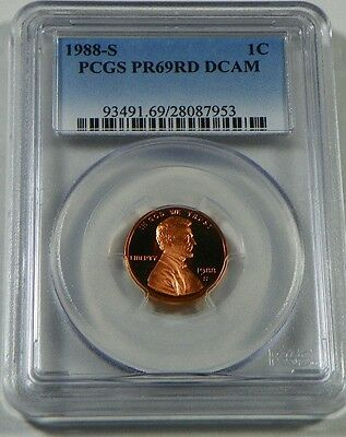 1988-S Proof Lincoln Cent Penny PCGS PR69RD DCAM - FREE SHIPPING