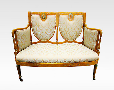 A Very Pretty Satinwood Painted Upholstered Settee