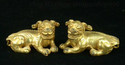 Antique Chinese Bronze Gilt Fengshui Foo Fu Dog Guardion Lion Beast Satatue Pair