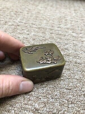 Antique Mixed Metal Japanese Meiji Snuff Box Trinket Box