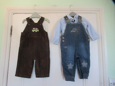 6-9m: 2 dungarees (Blue denim/Brown cord) & NEXT chambray shirt: Good condition