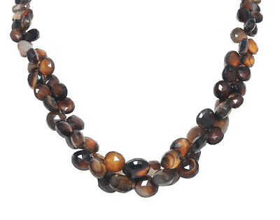 Round Shape Brown Onyx & Smoky Quartz Gemstone Faceted Necklace NS1747