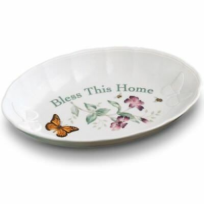 """NEW Lenox Butterfly Meadow Bless This Home Tray 11"""" Long with Box"""