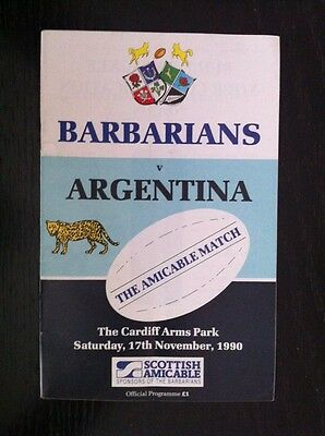 Barbarians v Argentina Rugby Programme 1990