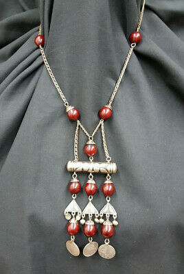 Rare Vintage Ottoman Empire Cherry Bakelite & Silver Coin Prayer Bead Necklace